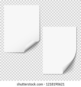 Vector blank paper mockups, two empty paper sheets with curved corner. Set of realistic vertical paper documents, posters