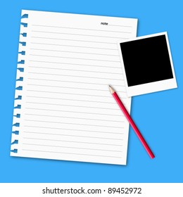 Vector of with blank paper on blue color background.