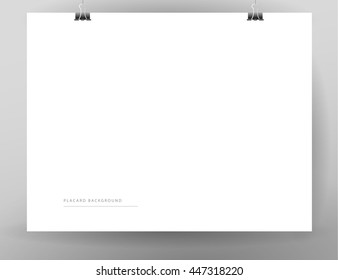 Vector blank paper sheet hanging isolated. Placard, banner, poster, advertisement backdrop template. Mock up. Text place. Business advertising sample.