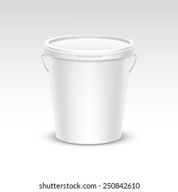 Vector Blank Plastic Bucket Container Packaging Isolated on White Background