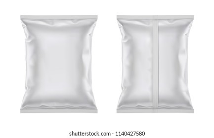 Vector blank plastic foil bag for packaging design, mockup template for food snack, chips, cookies, peanuts, candy. Isolated on white background