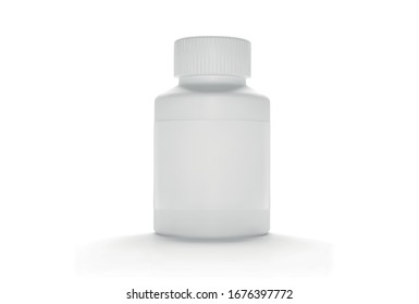 Vector Blank Plastic Packaging Bottle with Cap for Pills Isolated on White Background. Bio Supplements or Vitamins. Realistic Plastic Bottle. Mock Up Template. Medicine, Tablets, Pills