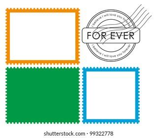 Vector blank postage stamp frame