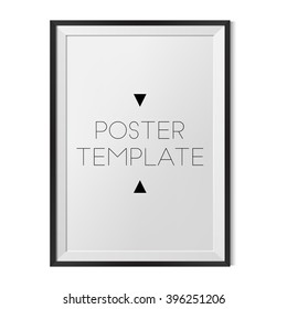 Vector blank poster template with black frame for you design. Best for mock up.