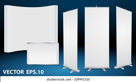 Vector blank roll up banner display, with trade show booth