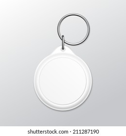 Vector Blank Round Keychain with Ring and Chain for Key Isolated on White Background