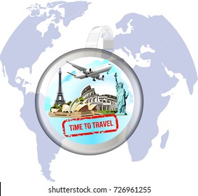 Vector blank round wobbler with transparent strip.Statue of Liberty.Eiffel Tower.Colosseum.Travel.The business card,sticker, ticket for travel agencies,for the sale of tours and trips.Logo for travel.