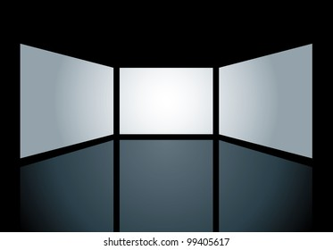 vector blank screens are holes on black surface and you can easily put your images in bottom layer