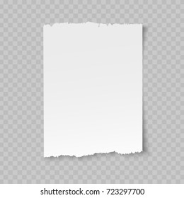 Vector blank sheet of torn paper with shadow on transparent background.