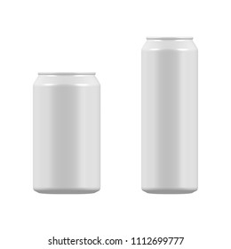 vector blank small and big aluminium soda can mock up isolated on white