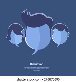 Vector blank speech bubbles as head shapes. May use as chat, debate or discussion icon, community banner template. Flat design style