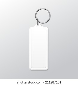 Vector Blank Square Keychain with Ring and Chain for Key Isolated on White Background