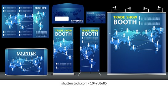 Vector Blank trade exhibition, with global social networking identity background ready for use