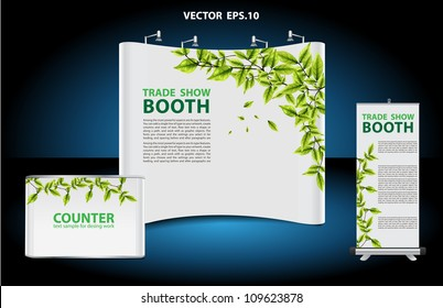 Vector blank trade show booth, with roll up banner and green leaves frame background identity background ready for use.