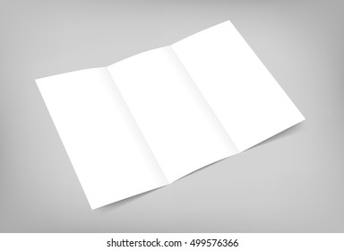 Vector blank tri fold flyer mock up on gray background