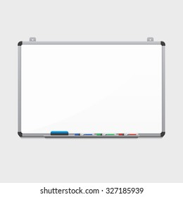 Vector blank white board with colored markers. Billboard and business, education and empty space illustration