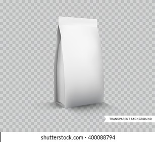 Vector Blank White Foil Food Packaging lllustration Isolated Mock Up Template Package Ready For Custom Design