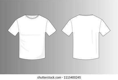 vector of  blank white men t-shirt template for mock up