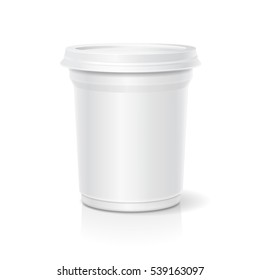 Vector blank white packaging closed container for yogurt, ice cream or dessert, side view