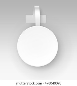 Vector Blank White Round Papper Plastic Advertising Price Wobbler Front view Isolated on Background