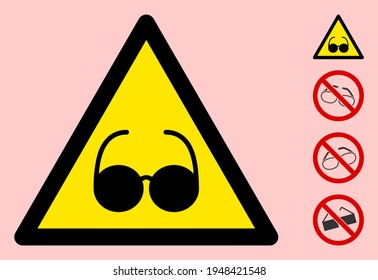Vector blind flat warning sign. Triangle icon uses black and yellow colors. Symbol style is a flat blind attention sign on a pink background. Icons designed for problem signals, road signs,