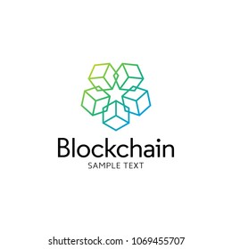 Vector Blockchain cube logo design template. Graphic crypto block logotype, icon and symbol. Modern bitcoin illustration isolated on background. Digital money label for technology and fintech industry