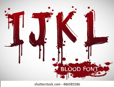 Vector blood alphabet is isolated on a white background,red splash blood letter set