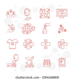 Vector blood donation icons set with donor arm, blood donation bag, blood drops symbols isolated. Give blood concept in trendy linear style.