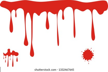 Vector blood splashes, drops and trail.  Blood on white background