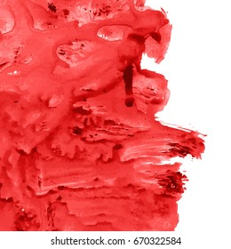 Vector bloody red, rose watercolor texture background with dry brush stains, strokes, spots isolated on white. Abstract artistic frame, place for text or logo. Acrylic hand painted gradient backdrop.