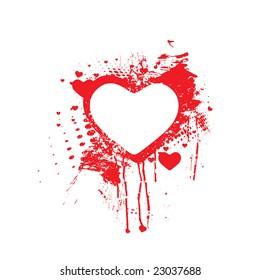 Vector Bloody splatter grunge heart