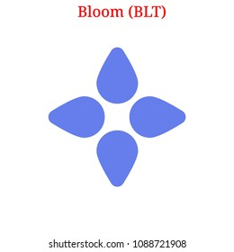 Vector Bloom (BLT) digital cryptocurrency logo. Bloom (BLT) icon. Vector illustration isolated on white background.