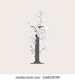 Vector Blooming Floral Number 1 monogram or logo. Numeric Flowered 1 with Flowers and Branches. Wildflowers. Floral Design