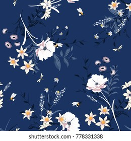 Vector blooming Floral pattern in the many kind of flowers. Botanical  Motifs scattered random. Seamless vector texture. For fashion prints. Printing with in hand drawn style on ultra blue background.