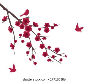 vector blossom branch with red flowers and birds