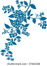 Vector blossoming twig. Jasmin silhouette. Spring flowers