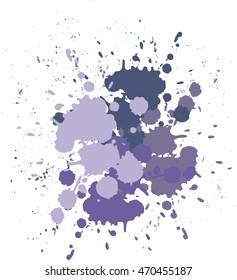 Vector blots lilac background. Blobs and splashes of paint purple blobs lilac blot, violet smear, violet dab,lilac blotch, lavender blur Holidays Holi or Mardi Gras Festive backdrop Typographic design
