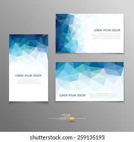 vector blue abstract business card templates