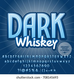 Vector blue Alphabet. Graphic style font. Text Dark Whiskey