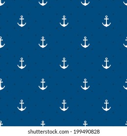 Vector blue anchors seamless pattern in a naurtical or marine themed background suitable for wallpaper or fabric  square format