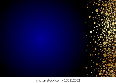 Vector blue background with gold confetti
