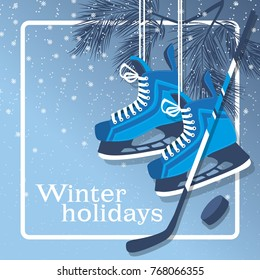 Vector blue background with hockey skates, hockey stick and puck. Winter recreation and entertainment.