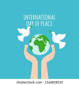 Vector blue background for International Day of peace. Concept illustration with dove of peace.