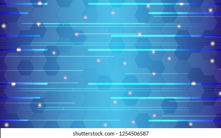 Vector blue background with blue light lines