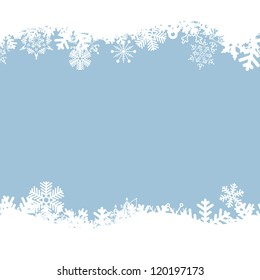 Vector blue background with snowflakes.