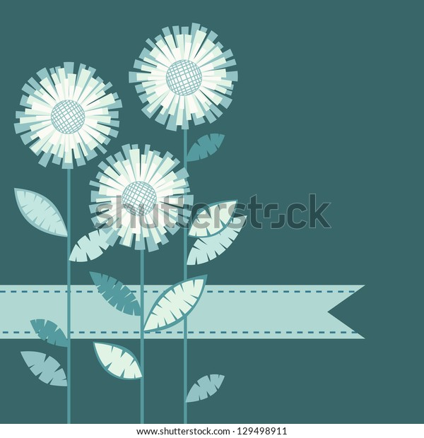 Vector blue background with stylized flower, leaves, ribbon. Invitation and greeting card with bunch of chrysanthemums. Geometric floral abstract illustration with text box for celebration, holiday