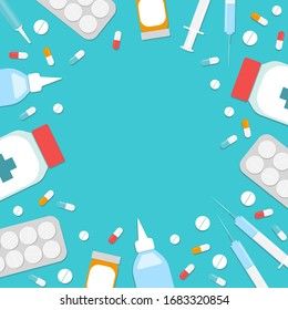 Vector blue banner with medications. Space for text