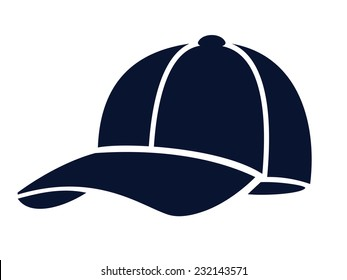 vector blue Baseball cap on white background
