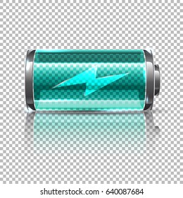 Vector Blue battery, full charge. Glass realistic power battery illustration on transparent background.