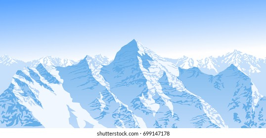 vector blue beautiful mountains